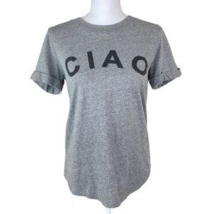 Anthro Sol Angeles Ciao Gray Roll Sleeve T-Shirt